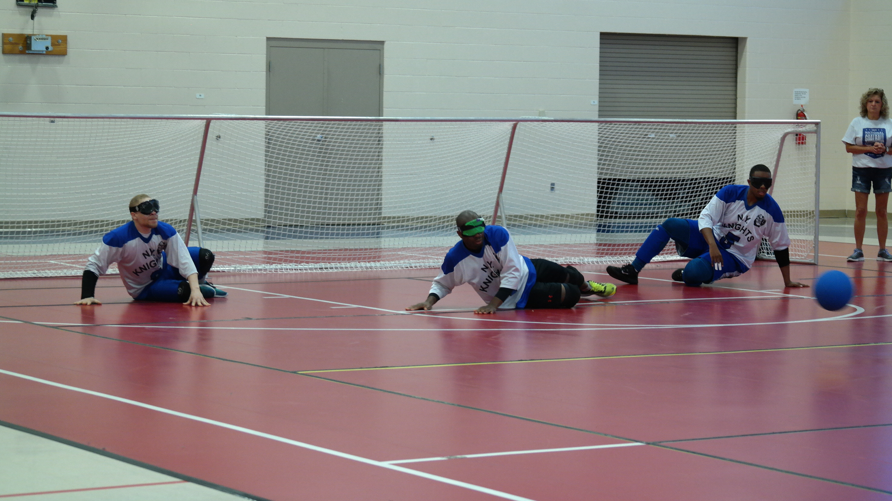 Teams compete in the Goalball National Championship at Turnstone's Plassman Athletic Center on Saturday.