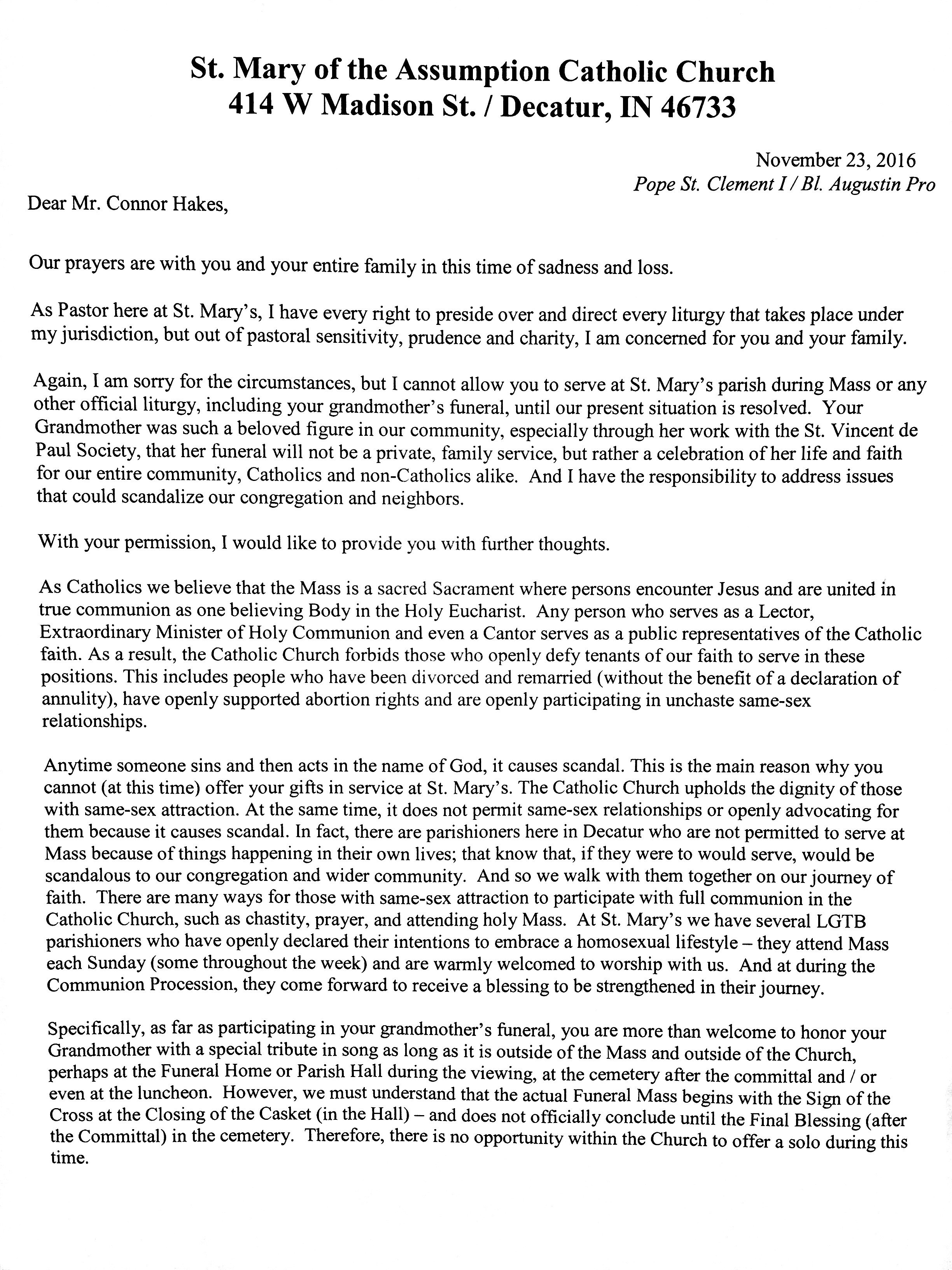 Letter to Connor Hakes saying he is not allowed to sing at his grandmother's funeral.
