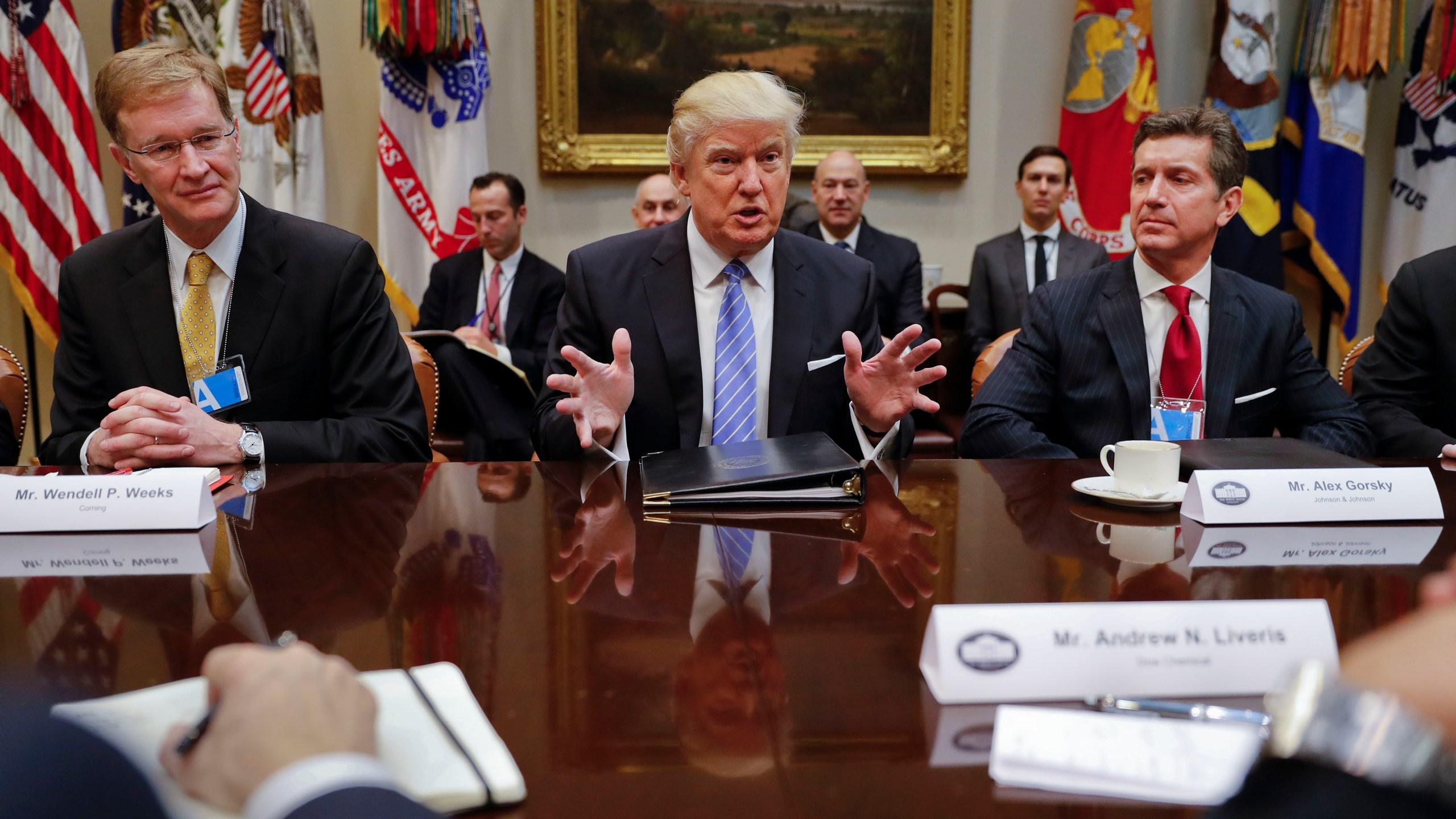 Donald Trump, Alex Gorsky, Wendell P. Weeks_235671