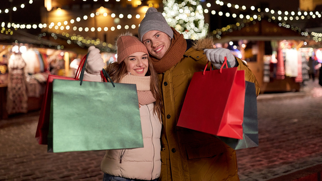holidays, christmas and people concept - happy couple at with sh_294991