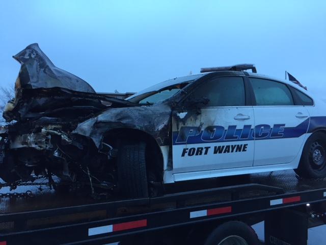 Police Cruiser Damaged in Crash on Lima Road_317937