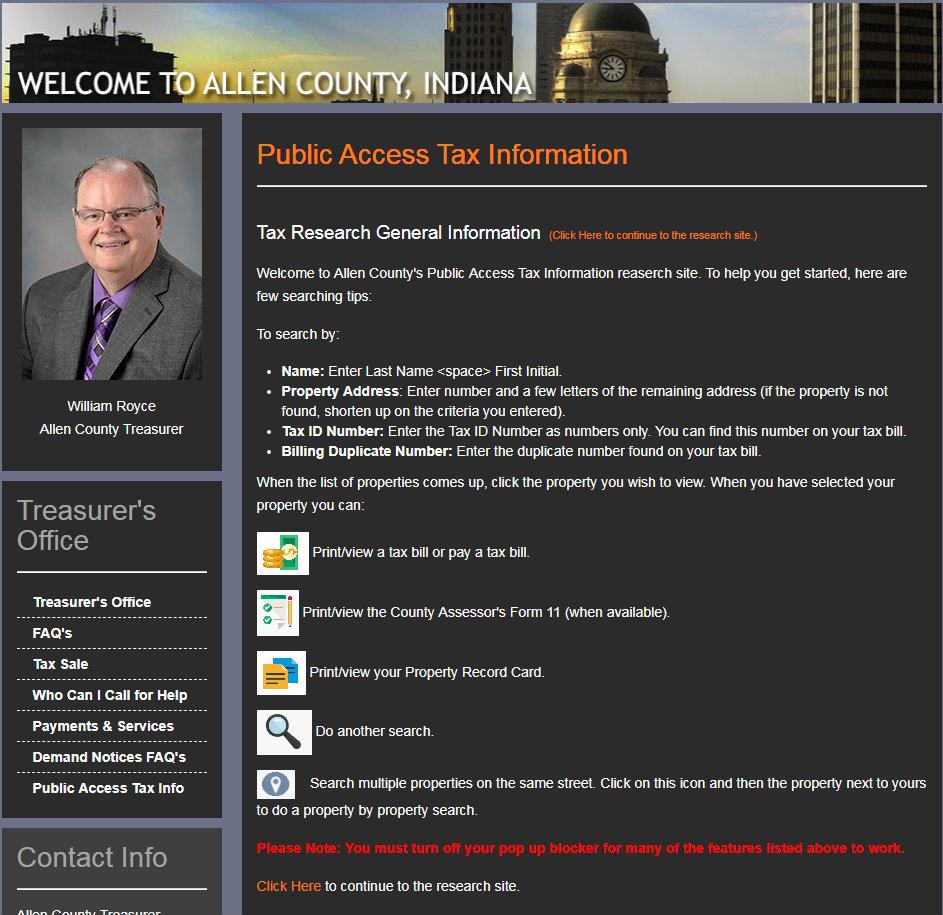Allen County Treasurer's web page