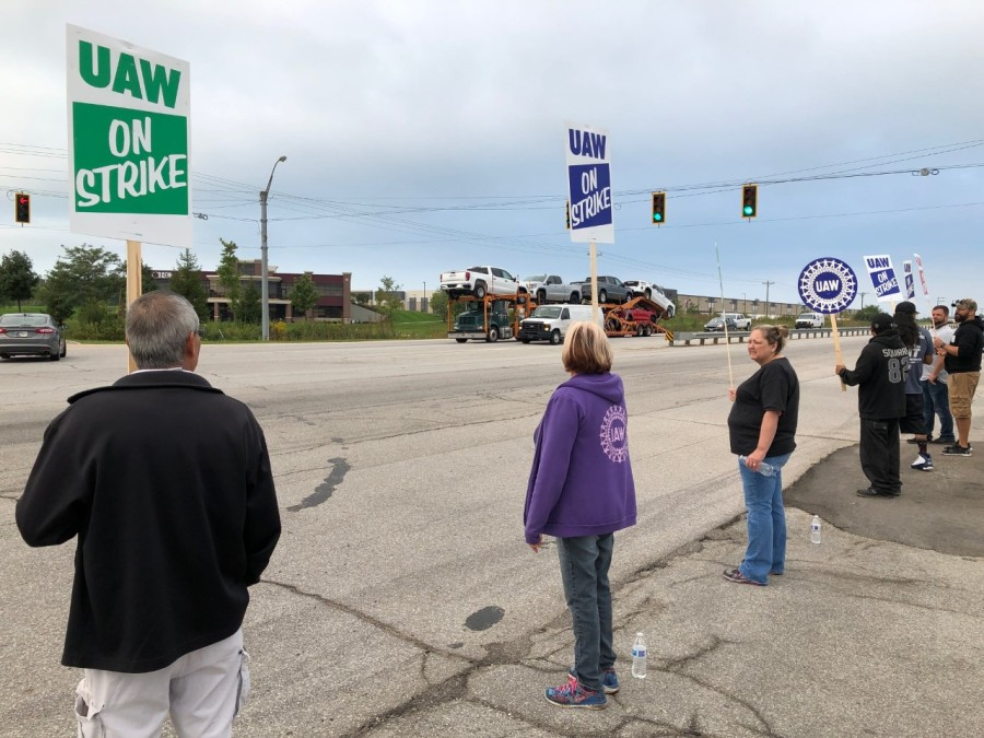 UAW workers on strike