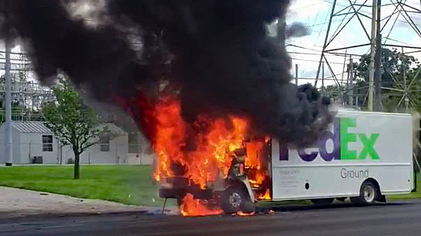 Fedex Truck Catches Fire In New Haven Wane 15