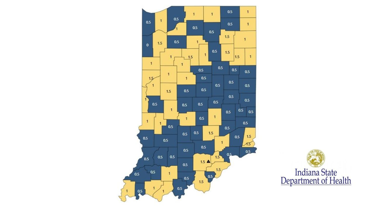 More than half of Indiana counties 'blue' in latest COVID county map - WANE