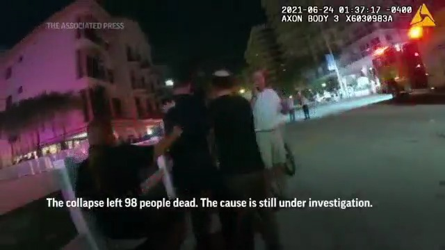 Newly released body cam footage reveals up-close look at the Florida condo collapse.