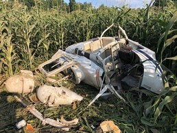 A helicopter crashed in a cornfield in rural Harrison County.