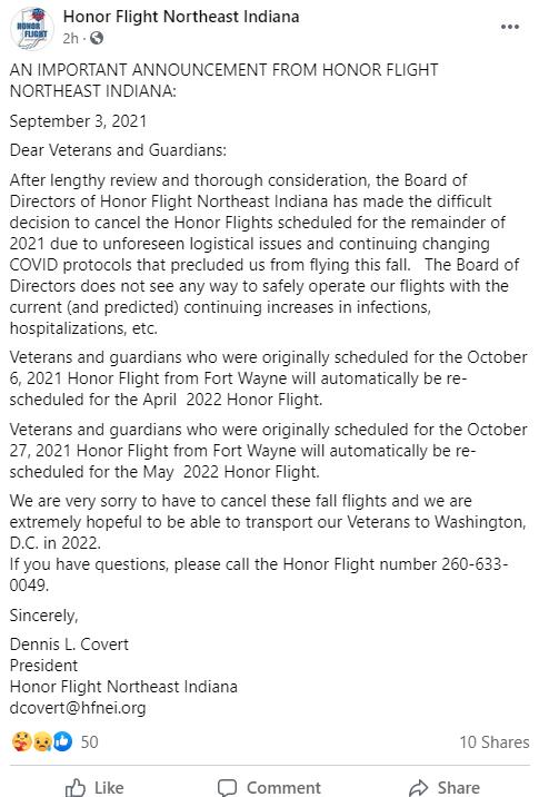 Honor Flight Facebook post
